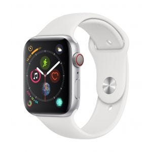 Apple Watch Series 4 Cellular 44 mm - sølv med hvit Sport Band