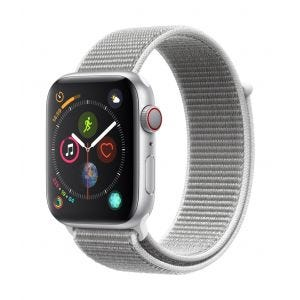 Apple Watch Series 4 Cellular 44 mm - sølv med strandskjellfarget Sport Loop