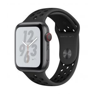 Apple Watch Series 4 Nike+ Cellular 44 mm - stellargrå med antrasitt-svart Nike Sport Band