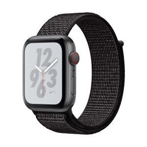 Apple Watch Series 4 Nike+ Cellular 44 mm - stellargrå med svart Nike Sport Loop