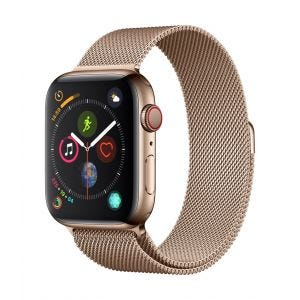 Apple Watch Series 4 Cellular 44 mm - rustfritt stål i gull med gull Milanese Loop