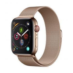 Apple Watch Series 4 Cellular 44 mm - rustfritt stål i gull med gull Milanese Loop