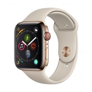 Apple Watch Series 4 Cellular 44 mm - rustfritt stål i gull med stengrå Sport Band