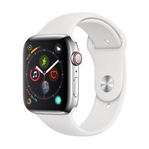 Apple Watch Series 4 Cellular 44 mm - rustfritt stål med hvit Sport Band