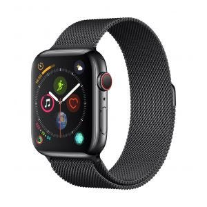 Apple Watch Series 4 Cellular 44 mm - rustfritt stål i stellarsvart med stellarsvart Milanese Loop
