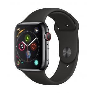 Apple Watch Series 4 Cellular 44 mm - rustfritt stål i stellarsvart med svart Sport Band