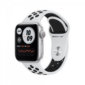 Apple Watch Series 6 Nike+ GPS 40 mm - sølv med platina/svart Nike Sport band