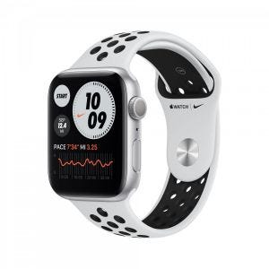 Apple Watch Series 6 Nike+ GPS 44 mm - sølv med platina/svart Nike Sport Band