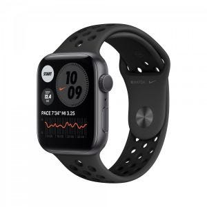 Apple Watch Series 6 Nike+ GPS 44 mm - stellargrå med antrasitt/svart Nike Sport Band