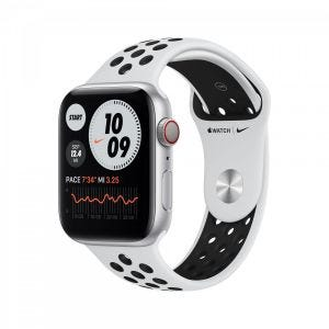 Apple Watch Series 6 Nike+ Cellular 44 mm - sølv med platina/svart Nike Sport Band
