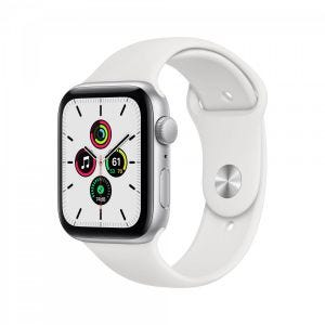 Apple Watch SE GPS 44 mm - Sølv med hvitt Sport Band