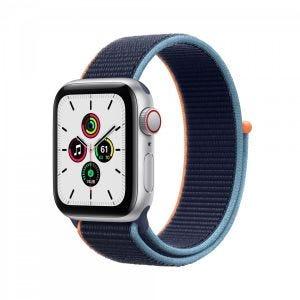 Apple Watch SE Cellular 40 mm - Sølv med marineblå Sport Loop