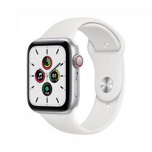 Apple Watch SE Cellular 44 mm - Sølv med hvitt Sport Namd