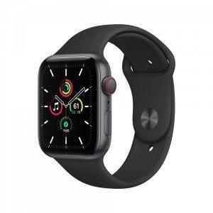 Apple Watch SE Cellular 44 mm - Stellargrå med svart Sport Band