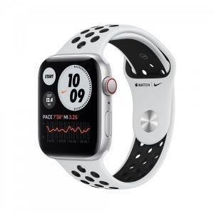 Apple Watch SE Nike Cellular 44 mm - Sølv med platina/svart Nike Sport Band
