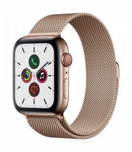 Apple Watch Series 5 Cellular 44 mm - Rustfritt stål i gull med Milanese Loop
