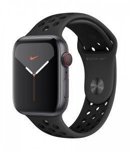 Apple Watch Series 5 Nike+ Cellular 44 mm - stellargrå med antrasitt/svart Nike Sport Band