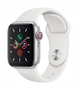 Apple Watch Series 5 Cellular 40 mm - Aluminium i sølv med hvit Sport Band