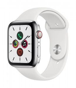 Apple Watch Series 5 Cellular 44 mm - Rustfritt stål i sølv med hvit Sport Band