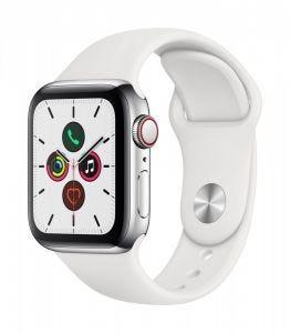 Apple Watch Series 5 Cellular 40 mm - Rustfritt stål i sølv med hvit Sport Band