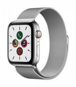 Apple Watch Series 5 Cellular 44 mm - Rustfritt stål i sølv med Milanese Loop