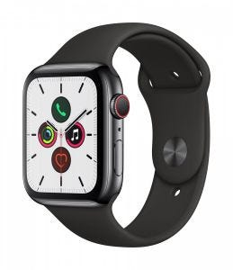 Apple Watch Series 5 Cellular 44 mm - Rustfritt stål i svart med Svart Sport Band
