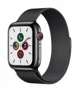 Apple Watch Series 5 Cellular 44 mm - Rustfritt stål i svart med Milanese Loop