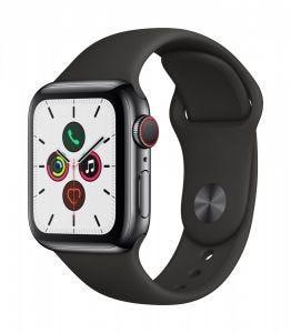 Apple Watch Series 5 Cellular 40 mm - Rustfritt stål i svart med svart Sport Band