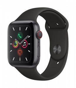 Apple Watch Series 5 Cellular 44 mm - Aluminium i stellargra med svart Sport Band