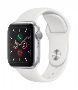 Apple Watch Series 5 GPS 40 mm - Sølv med hvitt Sport Band