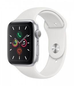 Apple Watch Series 5 GPS 44 mm - Sølv med hvitt Sport Band