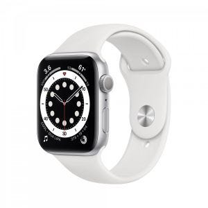 Apple Watch Series 6 44 mm Aluminium - Sølv med hvitt sport band