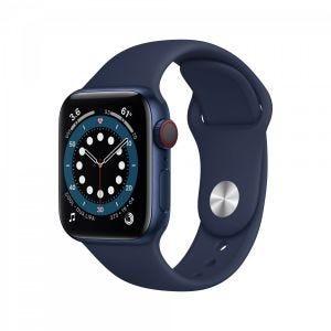 Apple Watch Series 6 Cellular 40 mm - Aluminium i blå med marineblått Sport Band