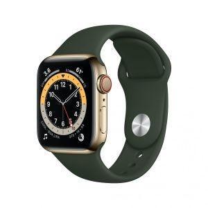 Apple Watch Series 6 Cellular 40 mm - Rustfritt stål i gull med grønt Sport Band