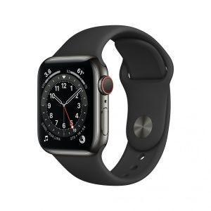 Apple Watch Series 6 Cellular 40 mm - Rustfritt stål i grafitt med svart Sport Band