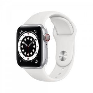 Apple Watch Series 6 Cellular 40 mm - Aluminium i sølv med hvit Sport Band