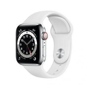 Apple Watch Series 6 Cellular 44 mm - Rustfritt stål i sølv med hvitt Sport Band