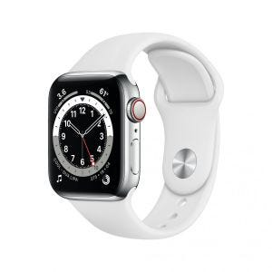 Apple Watch Series 6 Cellular 40 mm - Rustfritt stål i sølv med hvitt Sport Band