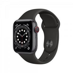 Apple Watch Series 6 Cellular 40 mm - Aluminium i stellargrå med svart Sport Band
