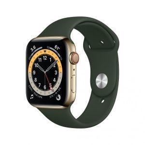 Apple Watch Series 6 Cellular 44 mm - Rustfritt stål i gull med grønt Sport Band