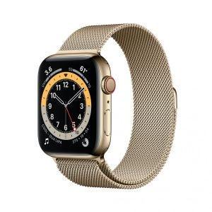 Apple Watch Series 6 Cellular 44 mm - Rustfritt stål i gull med Milanese loop i gull