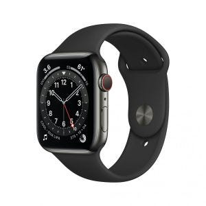Apple Watch Series 6 Cellular 44 mm - Rustfritt stål i grafitt med svart Sport Band