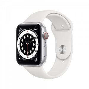 Apple Watch Series 6 Cellular 44 mm - Aluminium i sølv med hvitt Sport Band