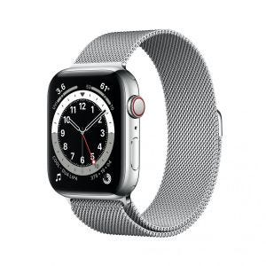 Apple Watch Series 6 Cellular 44 mm - Rustfritt stål i sølv med Milanese loop i sølv