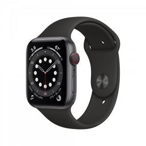 Apple Watch Series 6 Cellular 44 mm - Aluminium i stellargra med svart Sport Band