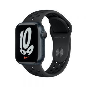 Apple Watch Series 7 Nike 41 mm - Midnatt med Antrasitt/Svart Nike Sport Band