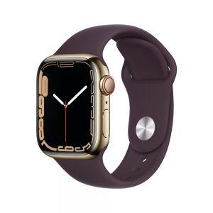 Apple Watch Series 7 Cellular 41 mm - Rustfritt stål i Gull med Mørk kirsebær Sport Band