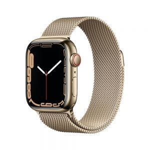 Apple Watch Series 7 Cellular 41 mm - Rustfritt stål i Gull med Milanese Loop i Gull