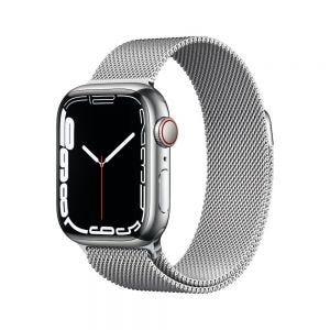 Apple Watch Series 7 Cellular 41 mm - Rustfritt stål i Sølv med Milanese Loop i Sølv