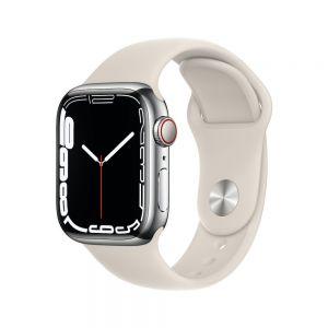 Apple Watch Series 7 Cellular 41 mm - Rustfritt stål i Sølv med Stjerneskinn Sport Band